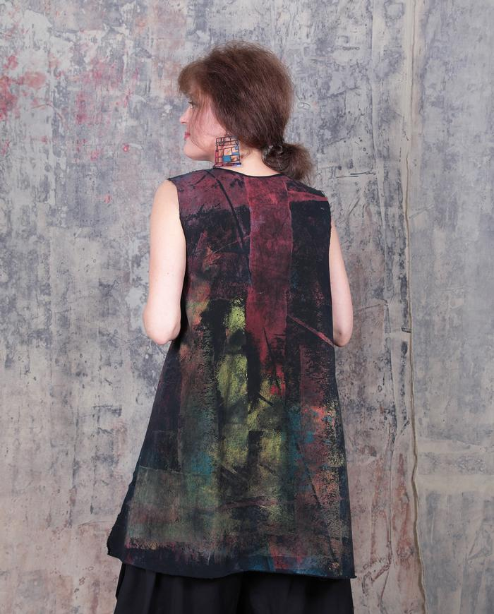 hand-painted muted colors long vest