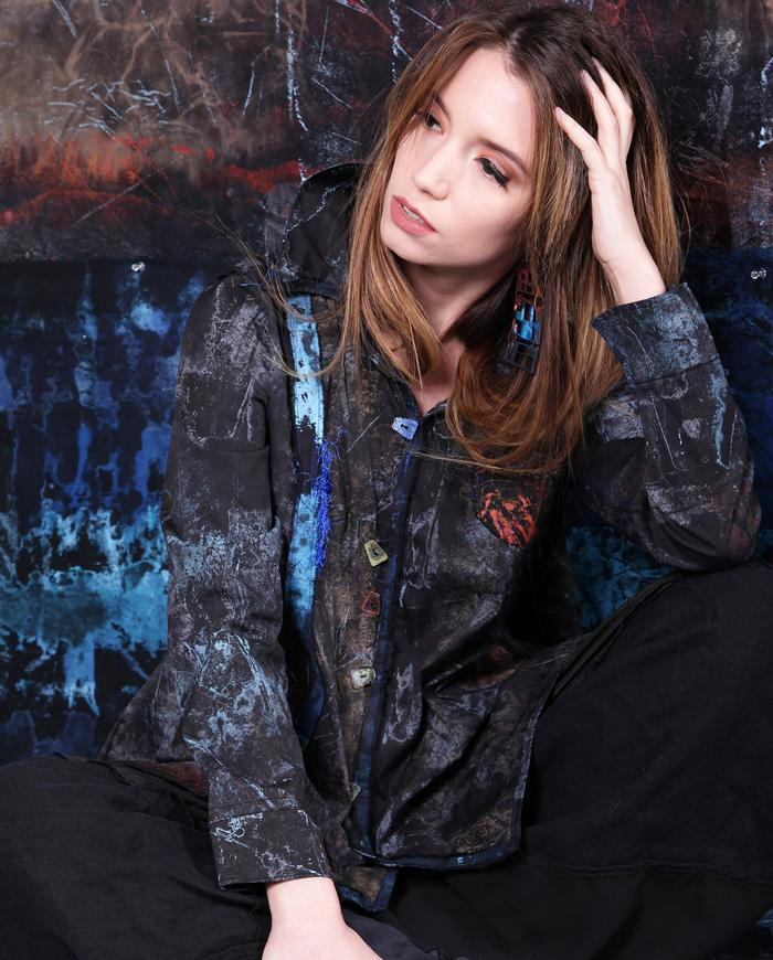 hand-painted black lightweight stretch swing jacket or shirt