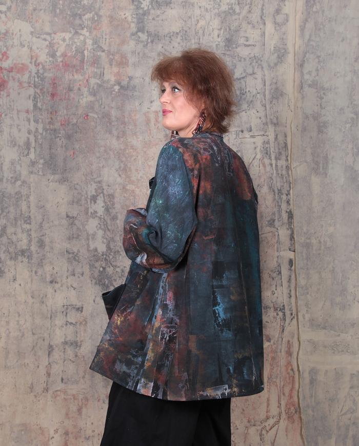 oversized hand-painted cotton jacket