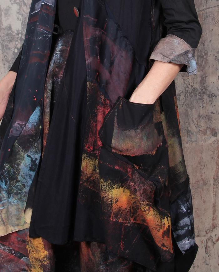 patchwork mixed fabrics fluid vest or dress