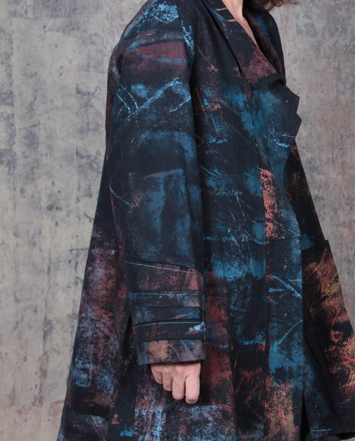 A-line dark colors on black brushed twill OSFA kaftan