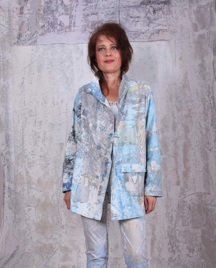 turquoise hand-painted lightweight jacket
