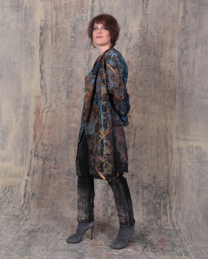 'golden earth' mosaic coat