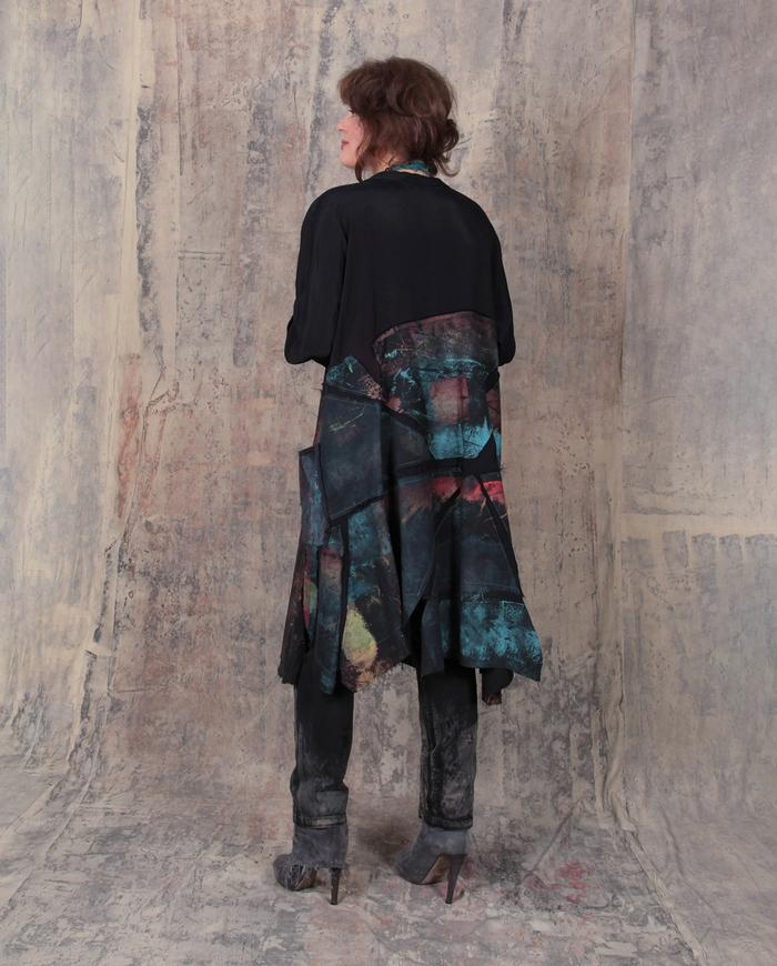 fall weight dark colors over black mosaic dress/tunic
