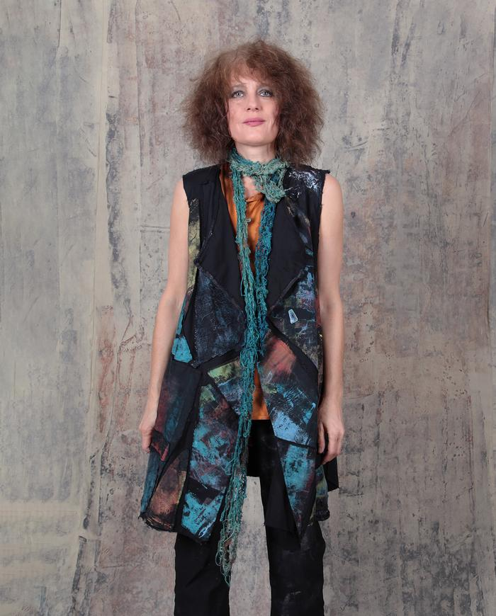 patchwork mosaic long vest or mini-dress