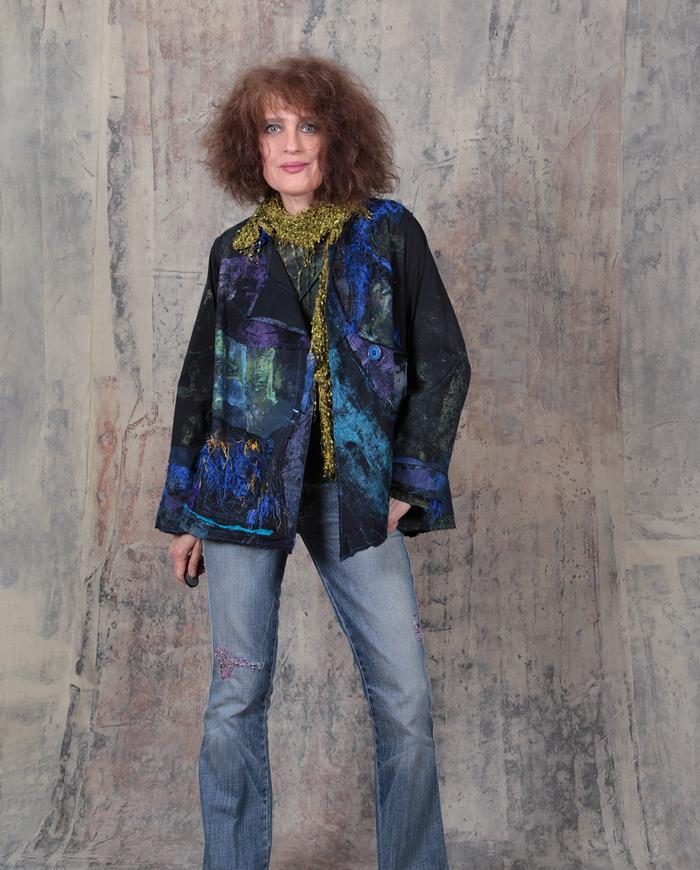jewel tones patchwork swing jacket