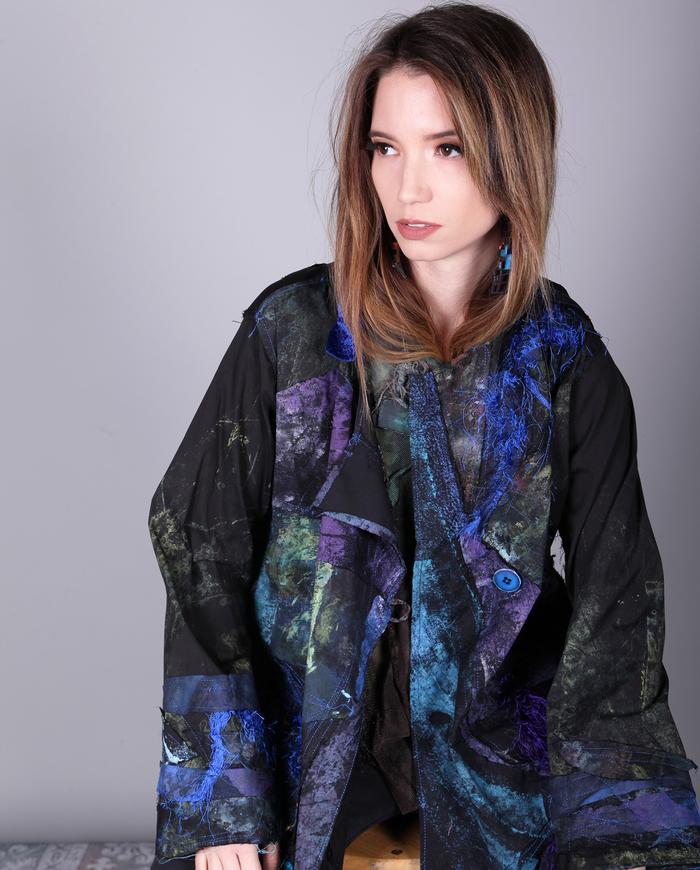 jewel tones patchwork swing jacket