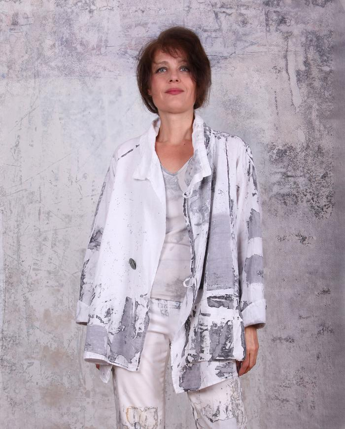 black and white hand-painted Belgian linen jacket