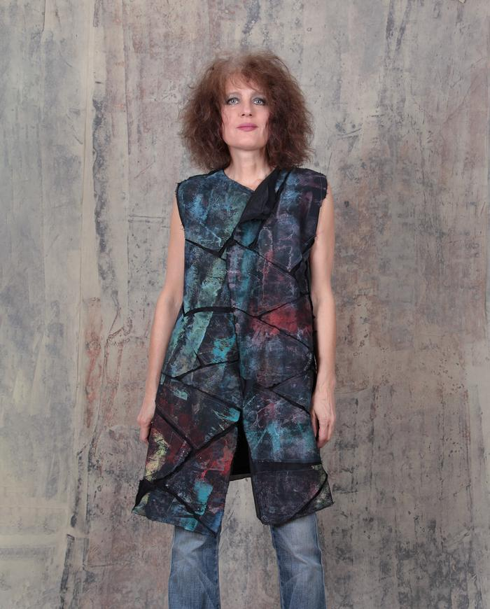 mosaic appliqué long vest or mini-dress