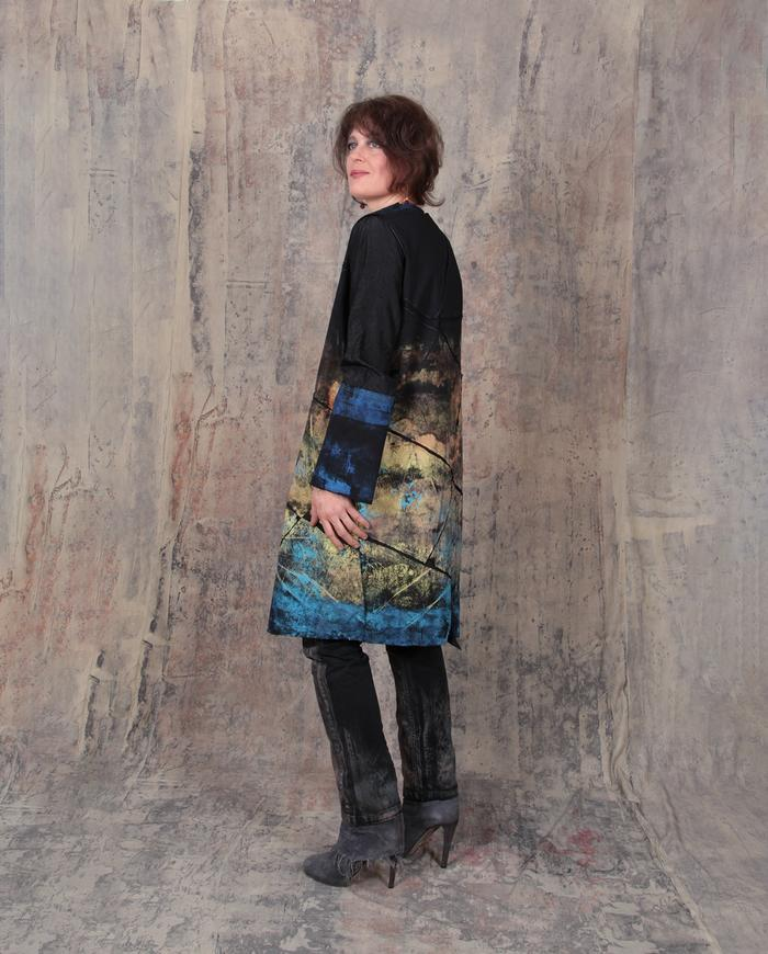 antique gold and blue ombre effect mosaic dress/jacket