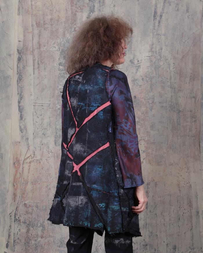 blue, black and watermelon vest or mini-dress