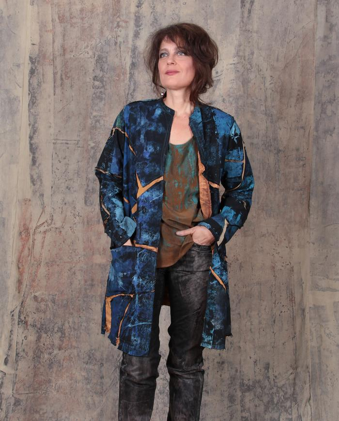 'blue treasure' mosaic hand-painted jacket