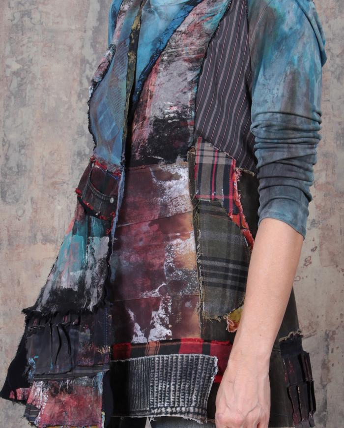 patchwork fitted peplum vest or top