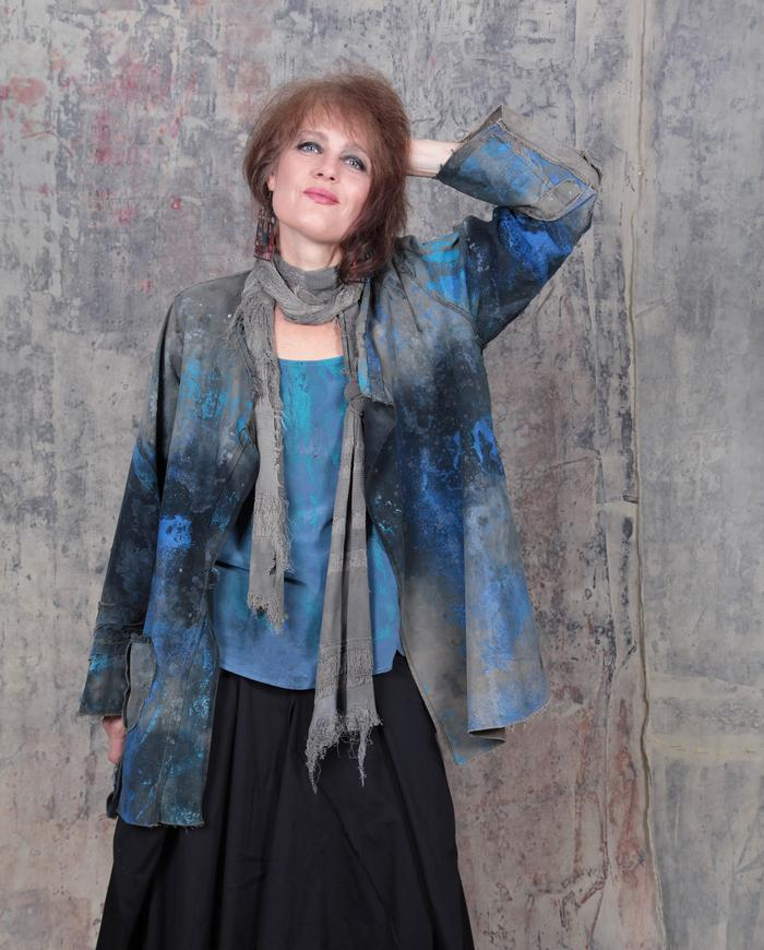 'starry sky' distressed cotton jacket