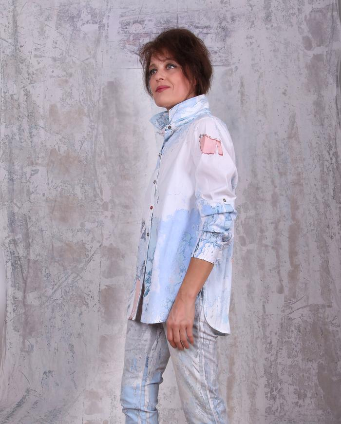 pastels over white hand-painted button-down shirt
