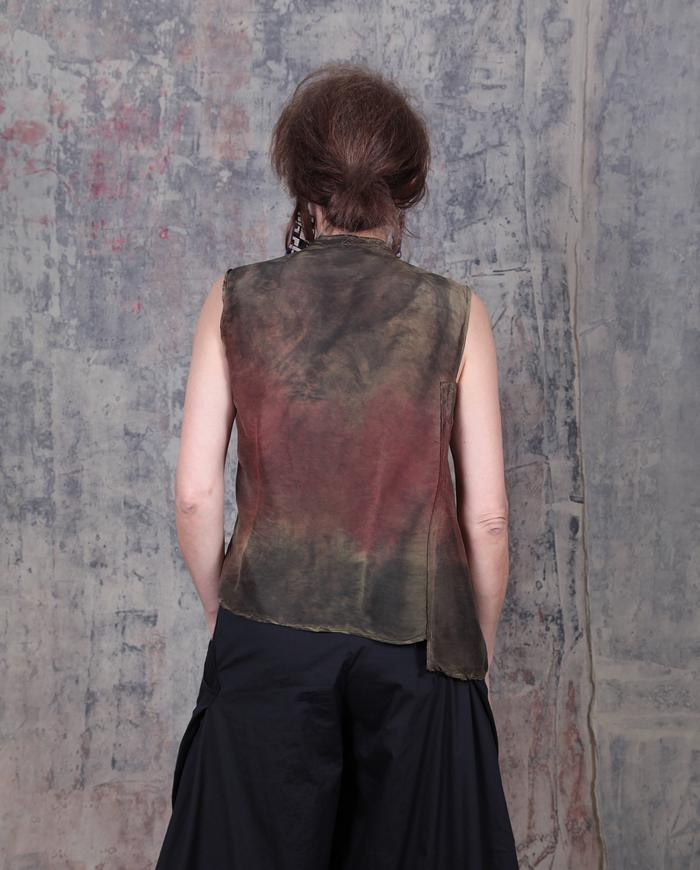 fitted hand-painted V-neck silk top in fall palette
