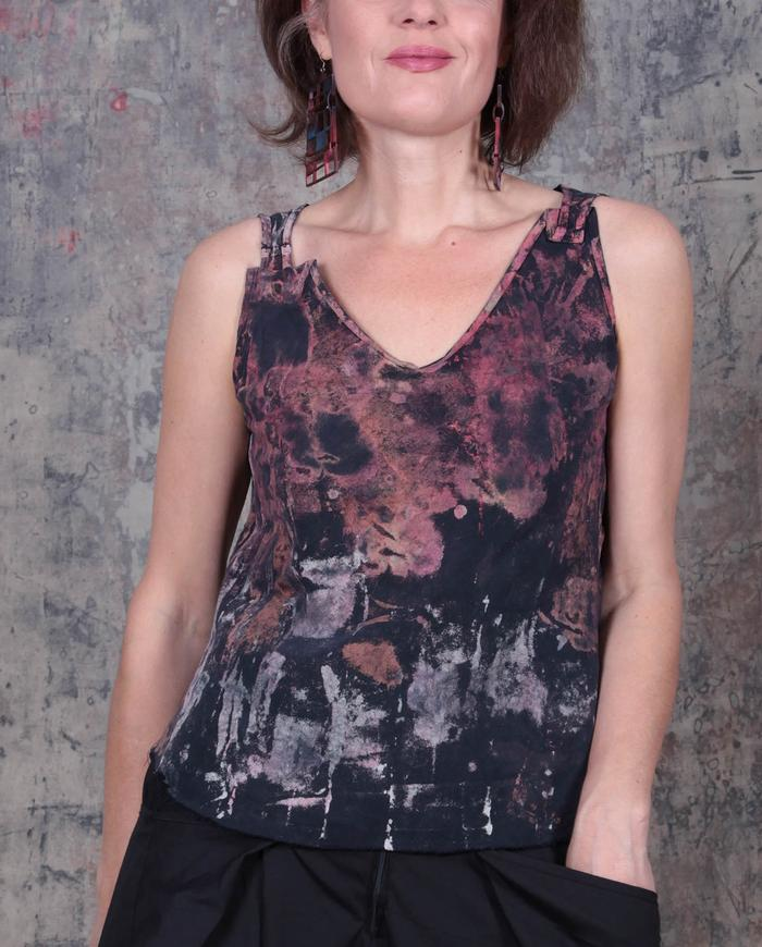 sculptural V-neck hand-painted top