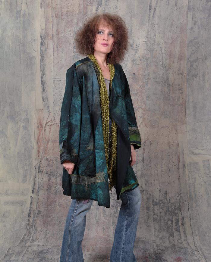 oversized/plus size detailed deep green jacket