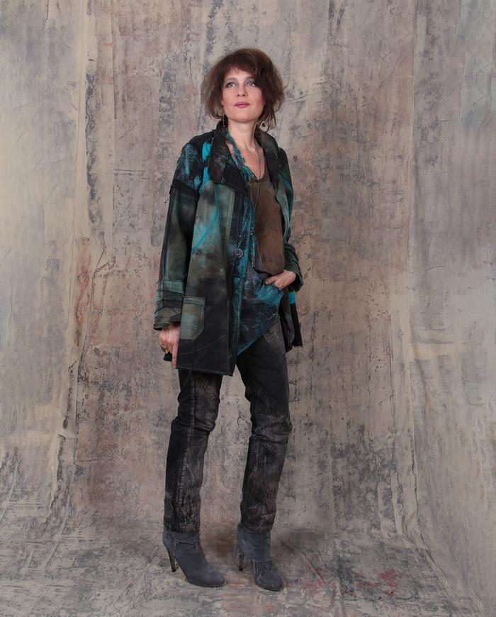 distressed soft cotton casual jacket with turquoise accents