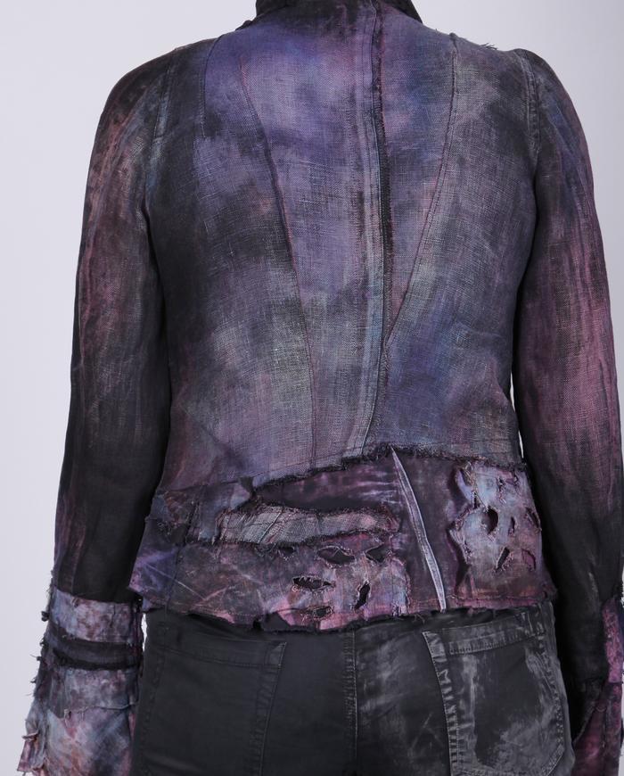 detailed distressed short jacket in deep indigo
