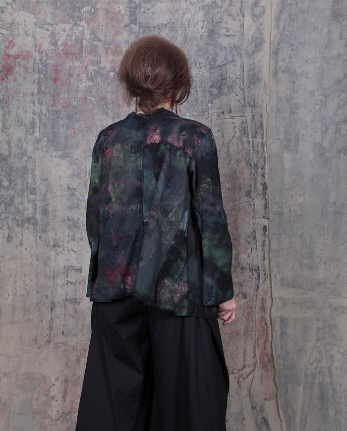 short hand-painted swing jacket in earth tones over black