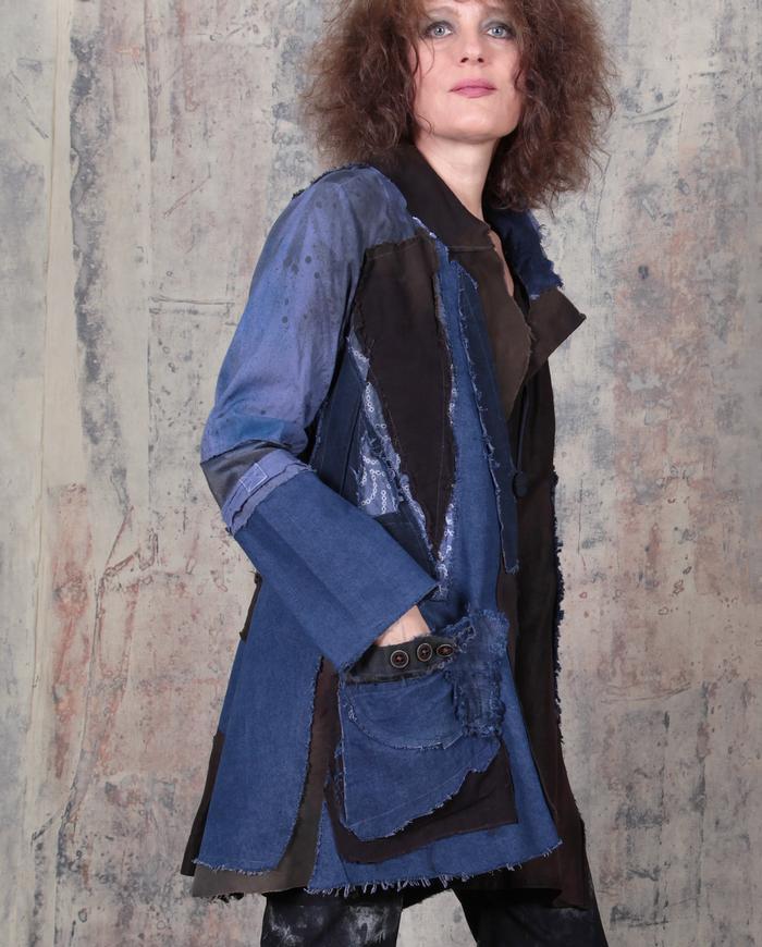 mixed fabrics patchwork indigo denim and brown jacket