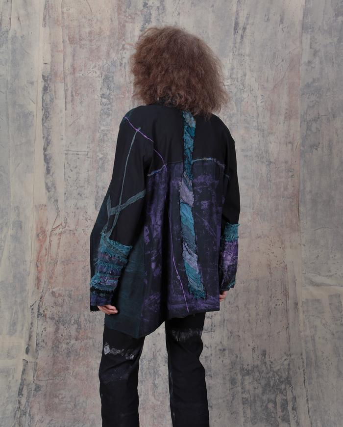 highly detailed teal and purple oversized/plus size jacket