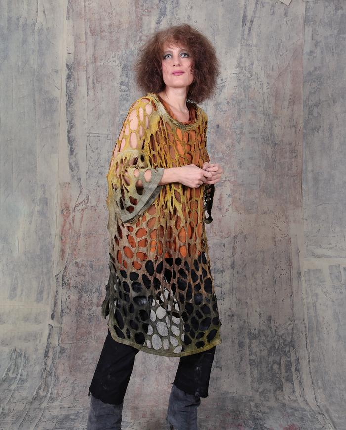 openwork knit silk oversized hand-painted poncho