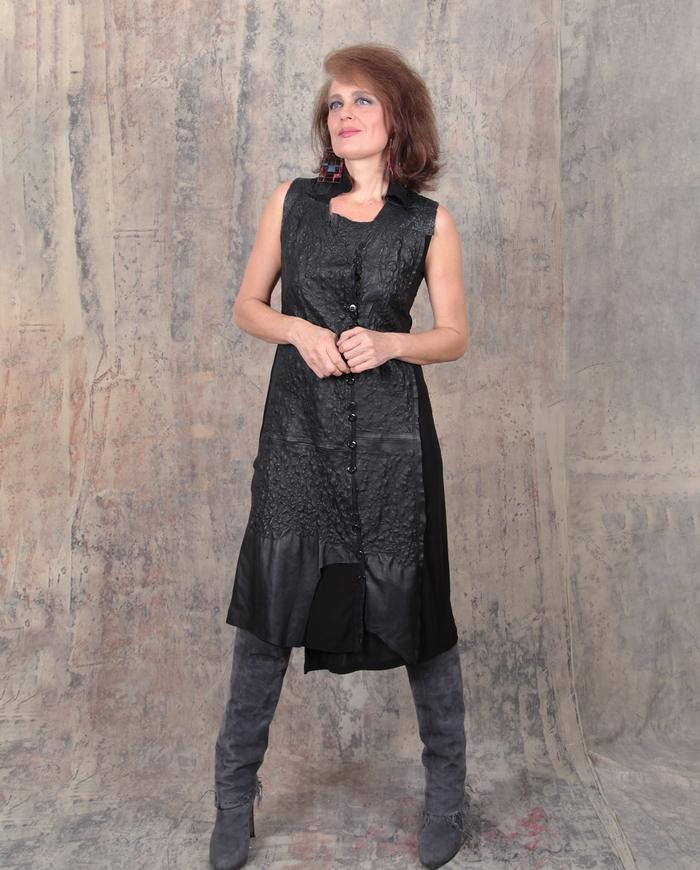 hand-textured embroidered lambskin leather black dress or vest