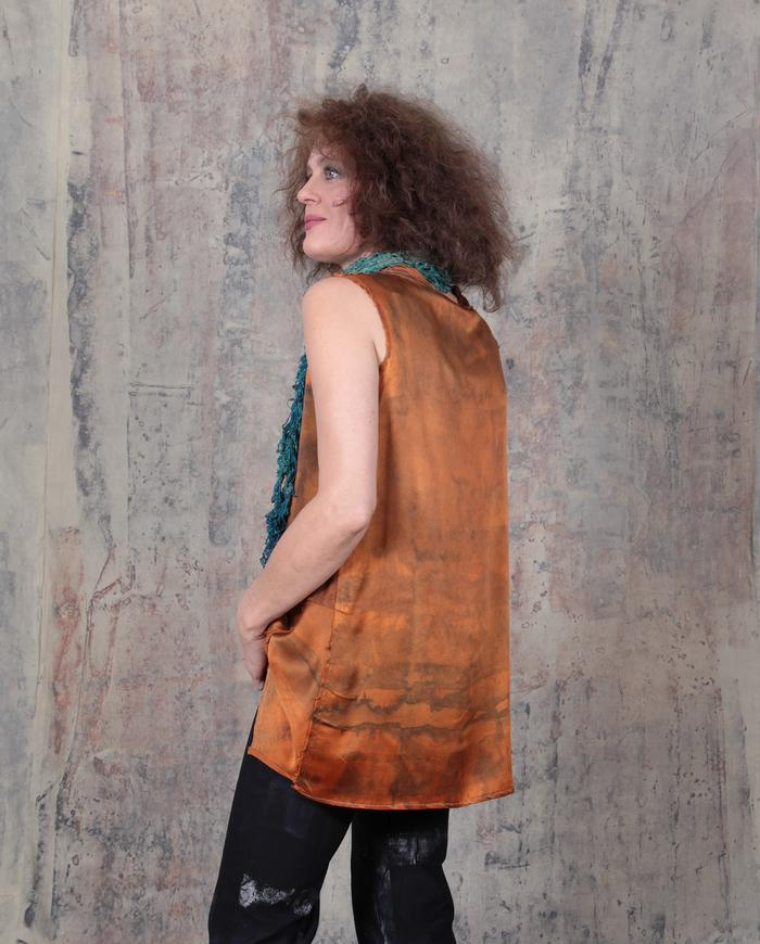 rusty patina asymmetrical thick silk top