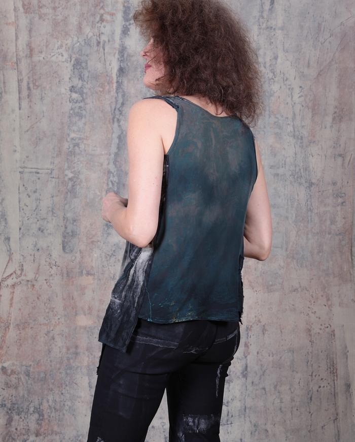 asymmetrical avant-garde silk tank top