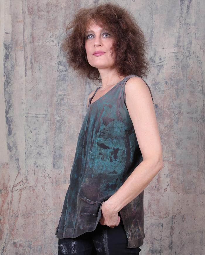 hand-painted 'patina' mauve tank top