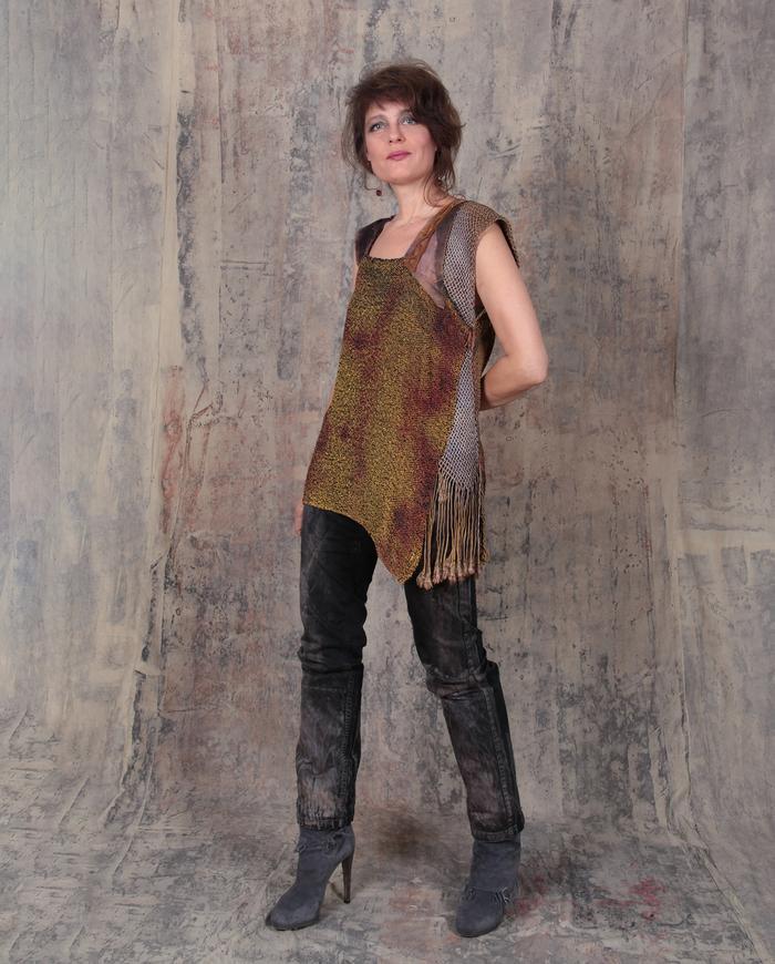 asymmetrical hand-woven silk avant-garde art-to-wear fall weight top