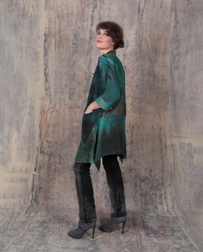 emerald pathwork hand-painted fall tunic or minidress