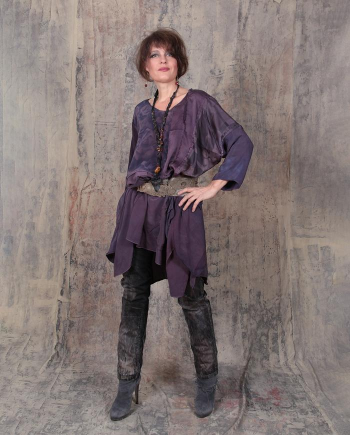 oversized/plus size fluid silk crepe patchwork dress/tunic
