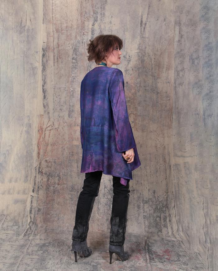 deep purple violet tunic with hidden pockets