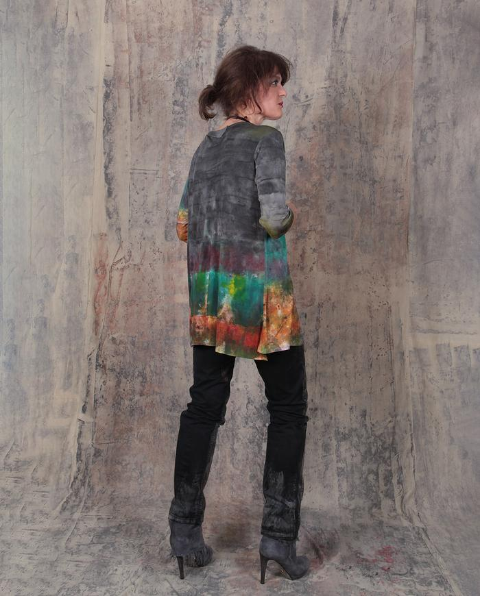 splash of color fine knit silk top
