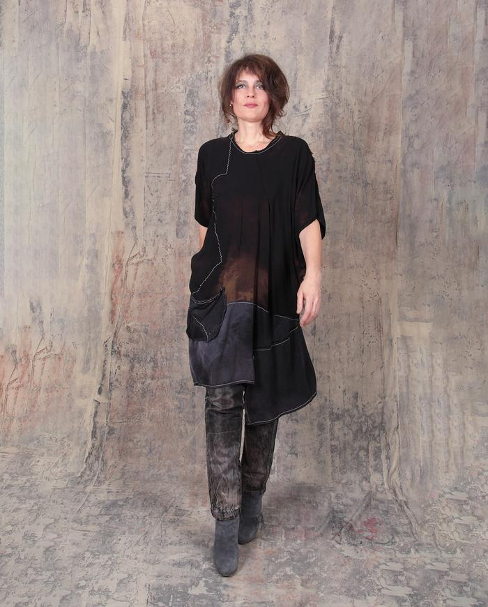 asymmetrical avant-garde oversized fall dress in black and earth