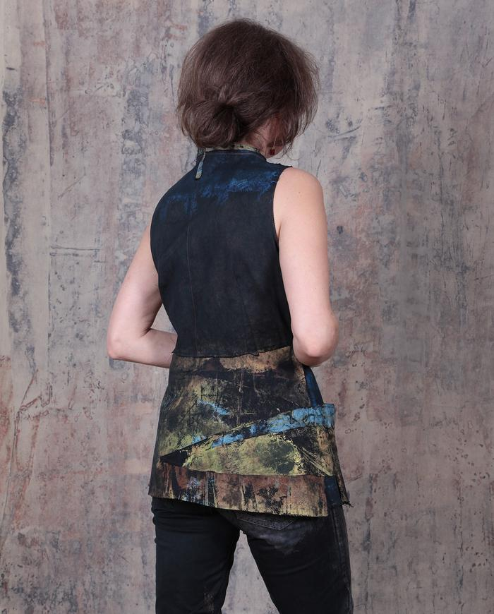 couture hand-painted asymmetrical avant-garde wrap top