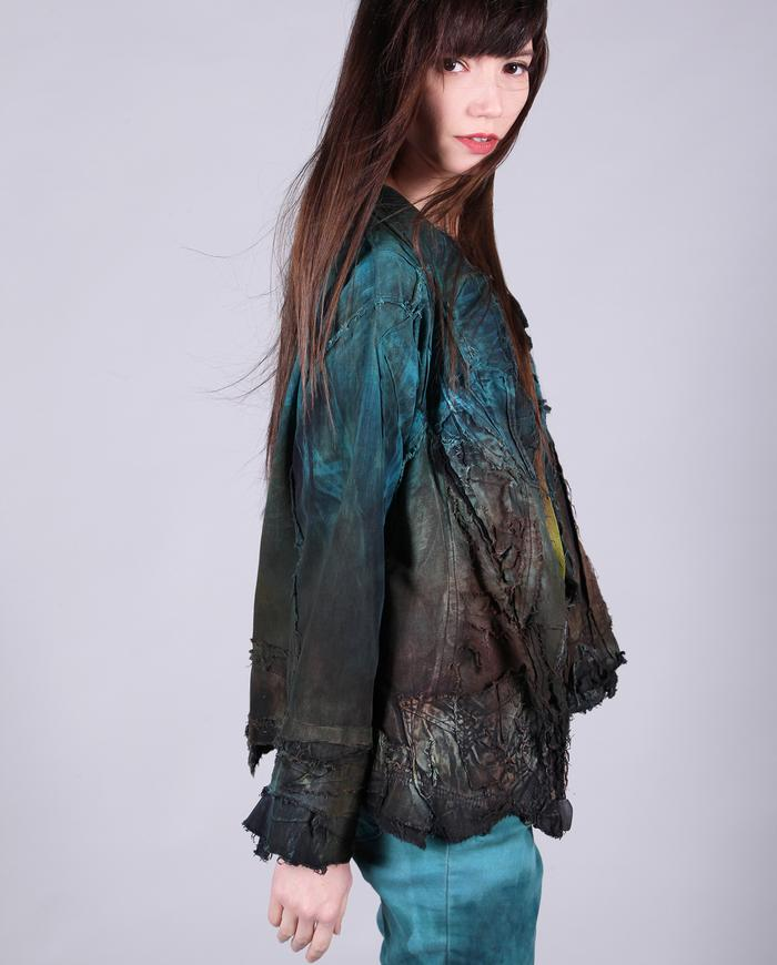 distressed highly detailed teal/rust short jacket