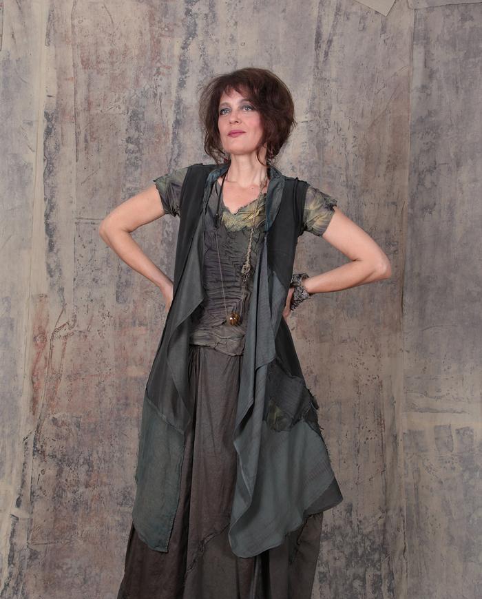 long open silk crepe patchwork vest in grayish pine green