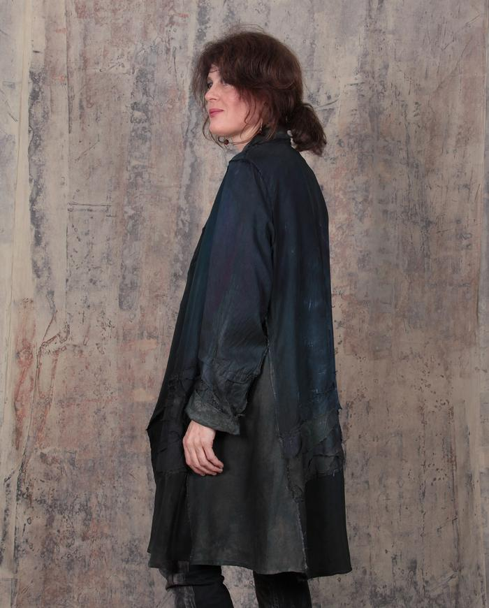one-size-fits-all silk dark greens/gray jacket/coat