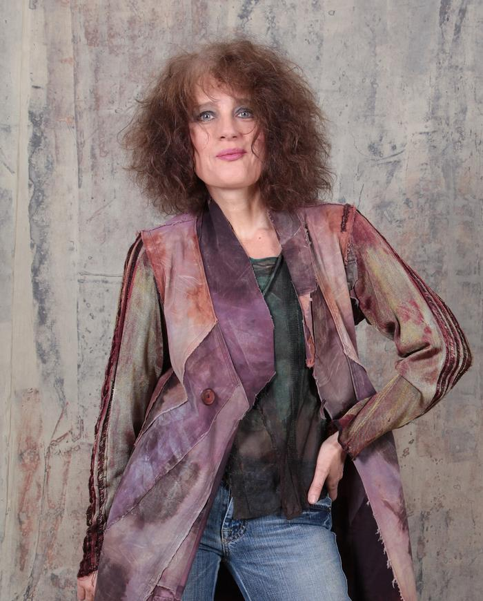 distressed edgy modern sculpted kaftan in mauve and rust