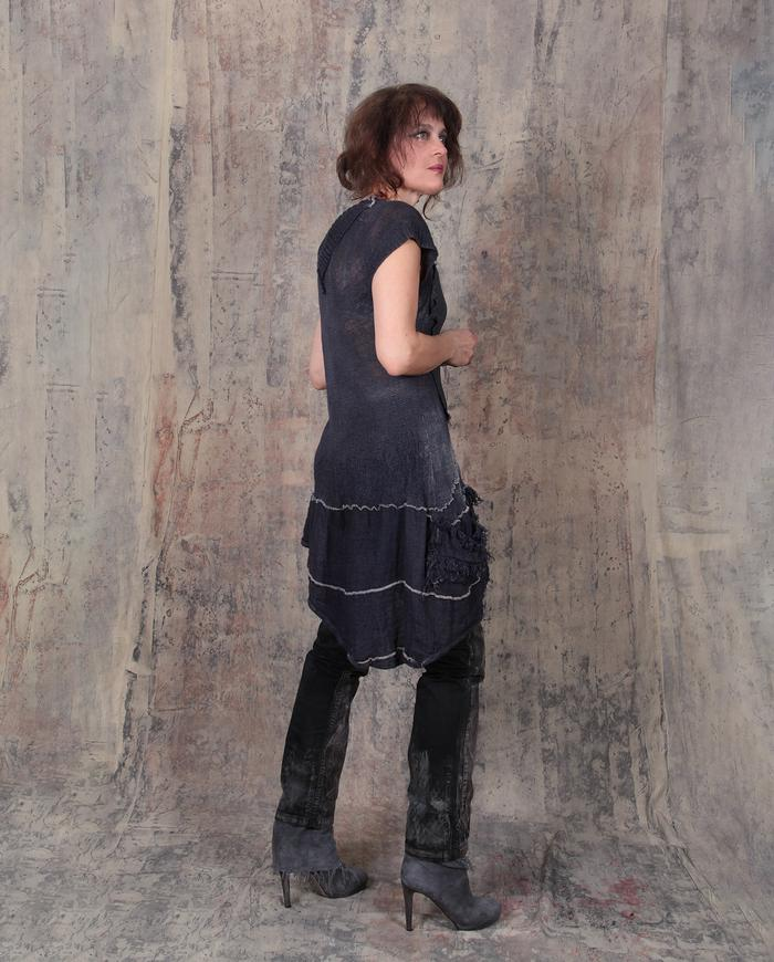 playful asymmetrical linen knit tunic in indigo