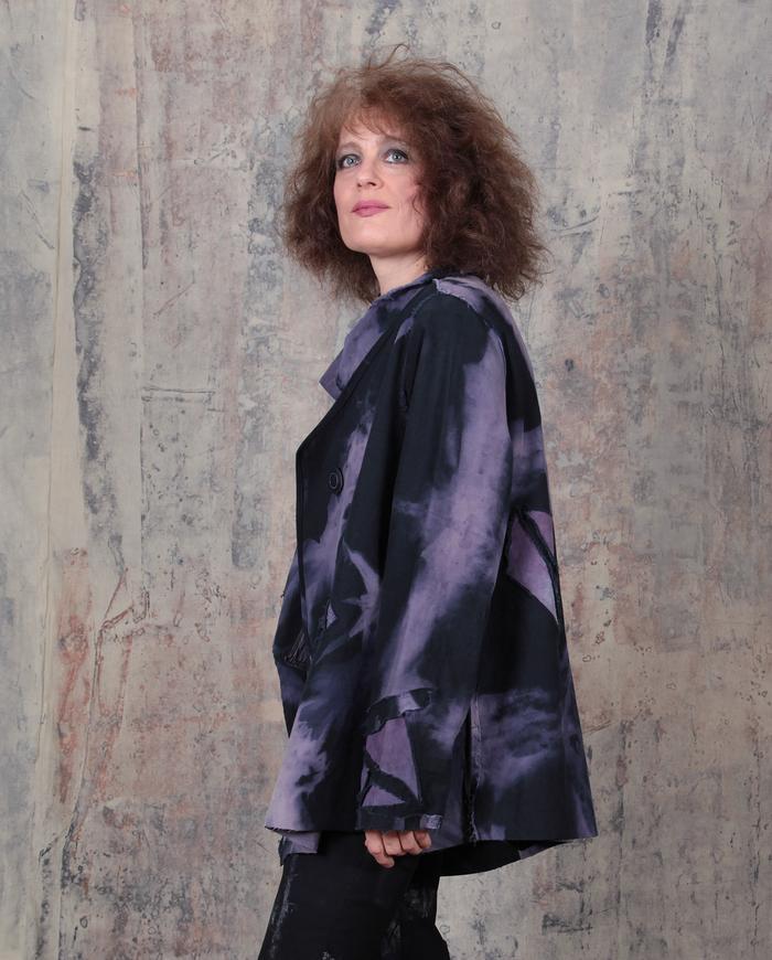 oversized asymmetrical black and violet jacket