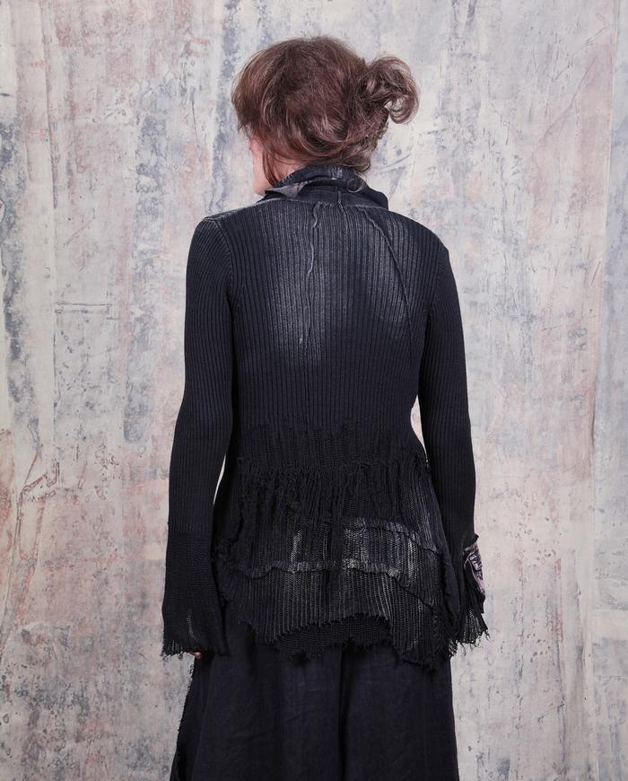 avant-garde black distressed knit snap front cardigan