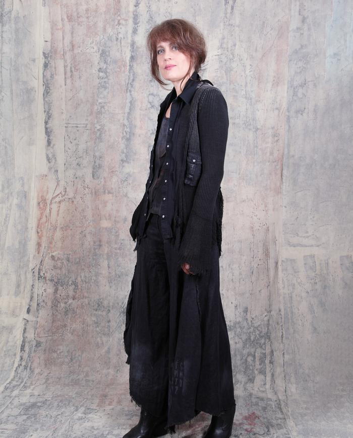 avant-garde black distressed knit snap front cardigan