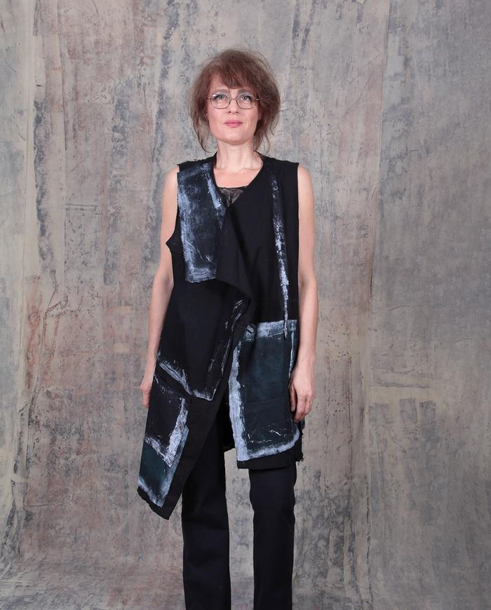 asymmetrical geometric patchwork black and white vest