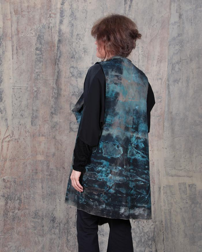 'stormy sea' oversized relaxed fit hand-painted vest