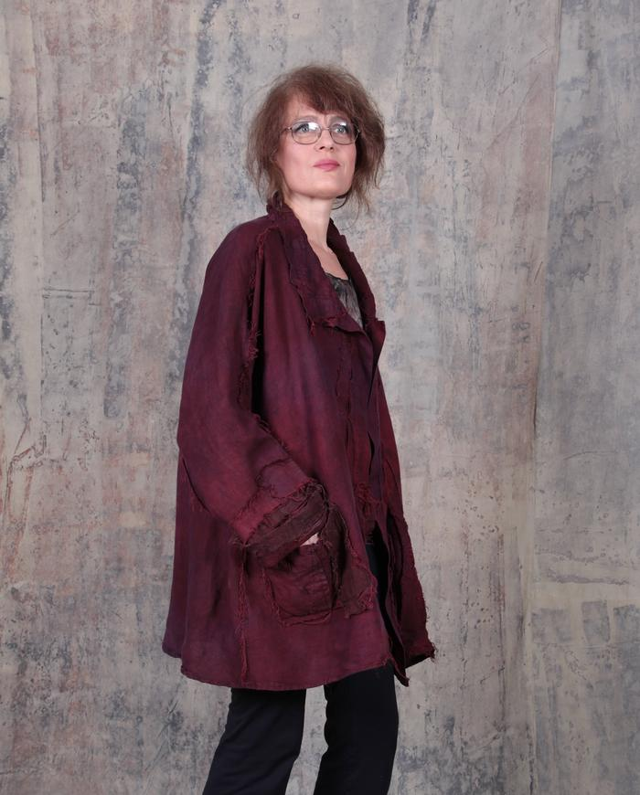 oversized drapey softened Belgian linen burgundy jacket